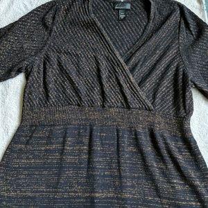 Lane Bryant Black and Gold Shimmer Sweater Dress